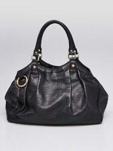 Gucci Sukey Medium Guccissima Shoulder Black Leather Hobo Bag Tote Purse $1480