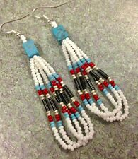 """Native American Style 2.5"""" White Turquoise Red Black Silver Beaded Earrings"""