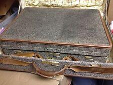 "Vintage HARTMANN Luggage Brown Tweed & Leather Trim Match Suitcase Set 30"" & 24"