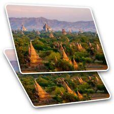 2 x Rectangle Stickers 10 cm - Temples Bagan Myanmar Burma #3529