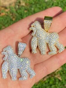 Real Solid 925 Sterling Silver Gold Gorilla Pendant Ape Necklace Iced Diamond