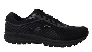 Brooks Ghost 12 Lace Up Black Woven Mens Running Shoes Trainers 1103162E040
