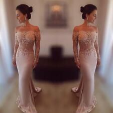 New Pink Mermaid Long Sleeve Prom Gown Appliques Evening Pageant Party Dresses
