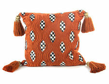 """MacKenzie-Childs 18"""" Throw Pillow Rust Cutaway Courtly Check & Courtly Stripe®"""