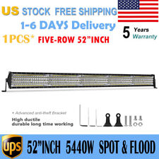 "5-Row 52Inch 5440W CREE Led Fog Light Bar Flood & Spot Driving Work Lamps PK 54"""