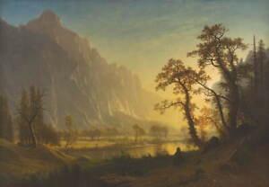 Albert Bierstadt Sunrise Yosemite Valley Poster Reproduction Giclee Canvas Print