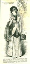 Gravure ancienne 1883 mode costume de voyage issue du livre