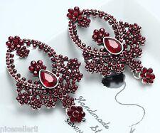 1 Pair Elegant Red Crystal Rhinestone  Ear Drop Dangle Stud long Earrings 209