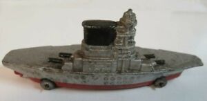 Vintage Antique Toy Aircraft Carrier - Barclay Co. Manoil Navy Car Metal Wheels