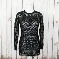 ISABEL MARANT Pour H&M Women's Black Mesh Lace Blouse Top Sz 6