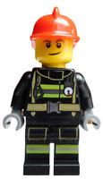 Lego Feuerwehrmann schwarz mit Helm in rot Minifigur Feuerwehr Mann cty0975 Neu