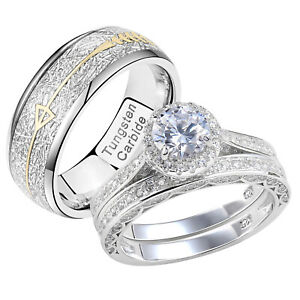 Wedding Rings Set For Him and Her Women Mens Tungsten Bands Sterling Silver Cz