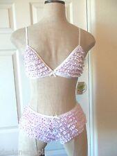 honeydew RUFFLE White Pink Hearts Print Nylon Bralette Bra & Rumba Boyshort - S