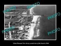 OLD LARGE HISTORIC PHOTO OF POINT PLEASANT NEW JERSEY AERIAL VIEW OF BEACH c1940