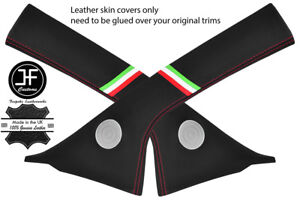 RED STITCH 2X A PILLAR ITALIAN FLAG REAL LEATHER COVERS FOR FIAT 500 07-15