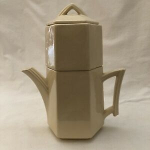 Art Deco MCCOY POTTERY WHITE 4 PIECE STACKING TEAPOT WITH STRAINER DECO  vintage