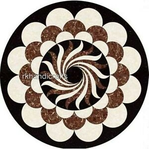 24 Inches Marble Coffee Table Top Hand Inlaid Center table with Elegant Pattern