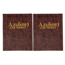 2pcs 250 Coins Holders Album Book Money Penny Pocket Coins Organizer -Brown