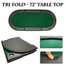 """New Folding Oval Padded Green Tri-Fold Poker Table Top 72""""x32"""" With Cup Holders"""