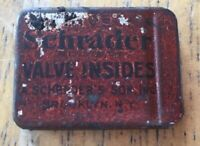 Vintage Schrader Valve Insides Red Metal Tin with (2) Valve Insides 1930's