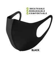 Black Face Mask Stretch One Size Washable Breathable Single Layer Excercise