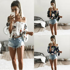 UK Womens Summer Blouse Floral Off The Shoulder Loose Beach Casual T-Shirt Tops