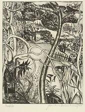 Hermann Naumann-loschwitzer jardín-litografía 1988