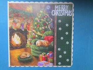 """8"""" x 8"""" HANDMADE STUNNING FIRESIDE FRIENDS CHRISTMAS CARD"""