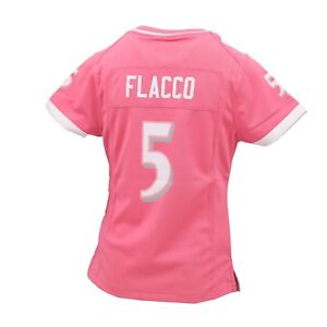 Baltimore Ravens Official NFL Kids Youth Girls Size Joe Flacco Pink Jersey New