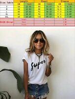 Summer Women Loose Print Supes T Shirt Cotton Letter Tops Tee Short Sleeve 572