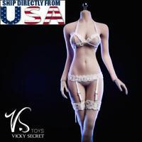 """1/6 Lace Lingerie Bra Garter Stockings Set For 12"""" PHICEN Female Figure USA"""