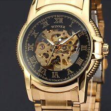 Winner Gold Luxury Mens Skeleton Analog Mechanical Wrist Watch Stainless Steel