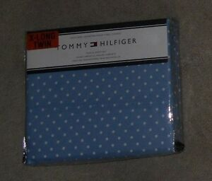 Tommy Hilfiger Blue with White Dots Twin XL Sheet Set NWT DORM SIZE