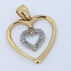 9k Diamond Set Double Heart Pendant_375 Two Tone gold yellow/white