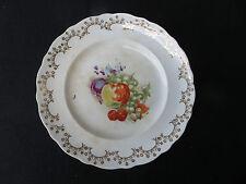 """9"""" LA FRANCAIS Porcelain Dessert Plate - Fruit Still Life with Gold Trim"""