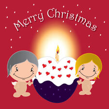 """""""Merry Christmas"""" Card our romantic Cupids have a giant iced pudding!"""