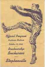 1943 BRECKENRIDGE BUCKAROOS vs STEPHENVILLE (TEXAS) High School FOOTBALL Program