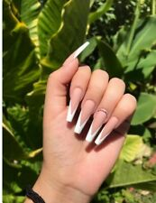 press on nails long coffinPointed French