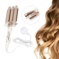 Hair Salon Ceramic 3 Triple Barrel Hair Wave Waver Curling Iron Curler Wand