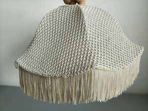Vintage Retro Scalloped Woven Boho Ceiling Lampshade with Fringe Detail