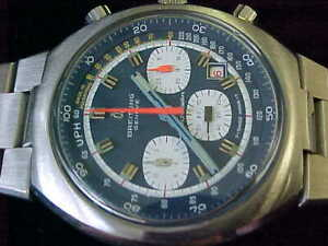 Vintage 1972 Breitling Transocean 3 Register Chronograph All Stainless Steel