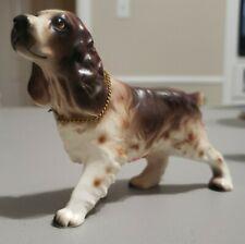 Vintage Cocker Spaniel Dog Ceramic Figurine from Japan brown white