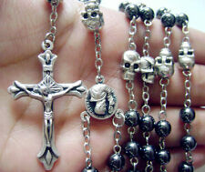 black rosary Beads & silver skull catholic Rosary Necklace box crucifix CROSS