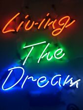 "New Living The Dream Beer Man Cave Neon Light Sign 17""x14"""