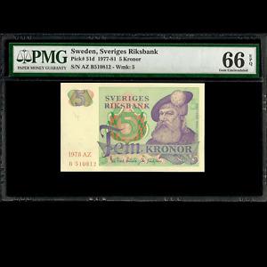 Sweden Sveriges Riksbank 5 Kronor 1978 PMG 66 GEM UNCIRCULATED EPQ P-51d