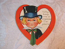 Valentine With Boy In Top Hat Carrington Co. Vintage T*