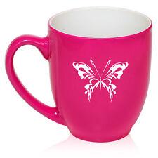 16oz Bistro Mug Ceramic Coffee Glass Tea Cup Tribal Butterfly
