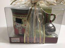 DEBBIE MUMM TEA INFUSER SPOON REST AND CHRISTMAS SNOWMAN MUG - NEW IN BOX