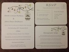 PERSONALISED WEDDING DAY/ EVENING INVITATIONS Rsvp Card Set WITH ENVELOPES