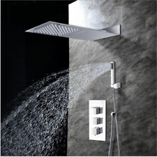 New listing Wall Mounted Rain&Waterfall Mixer Tap Shower head Hand Spray Faucet Panel Set